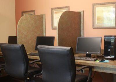 computer and desks